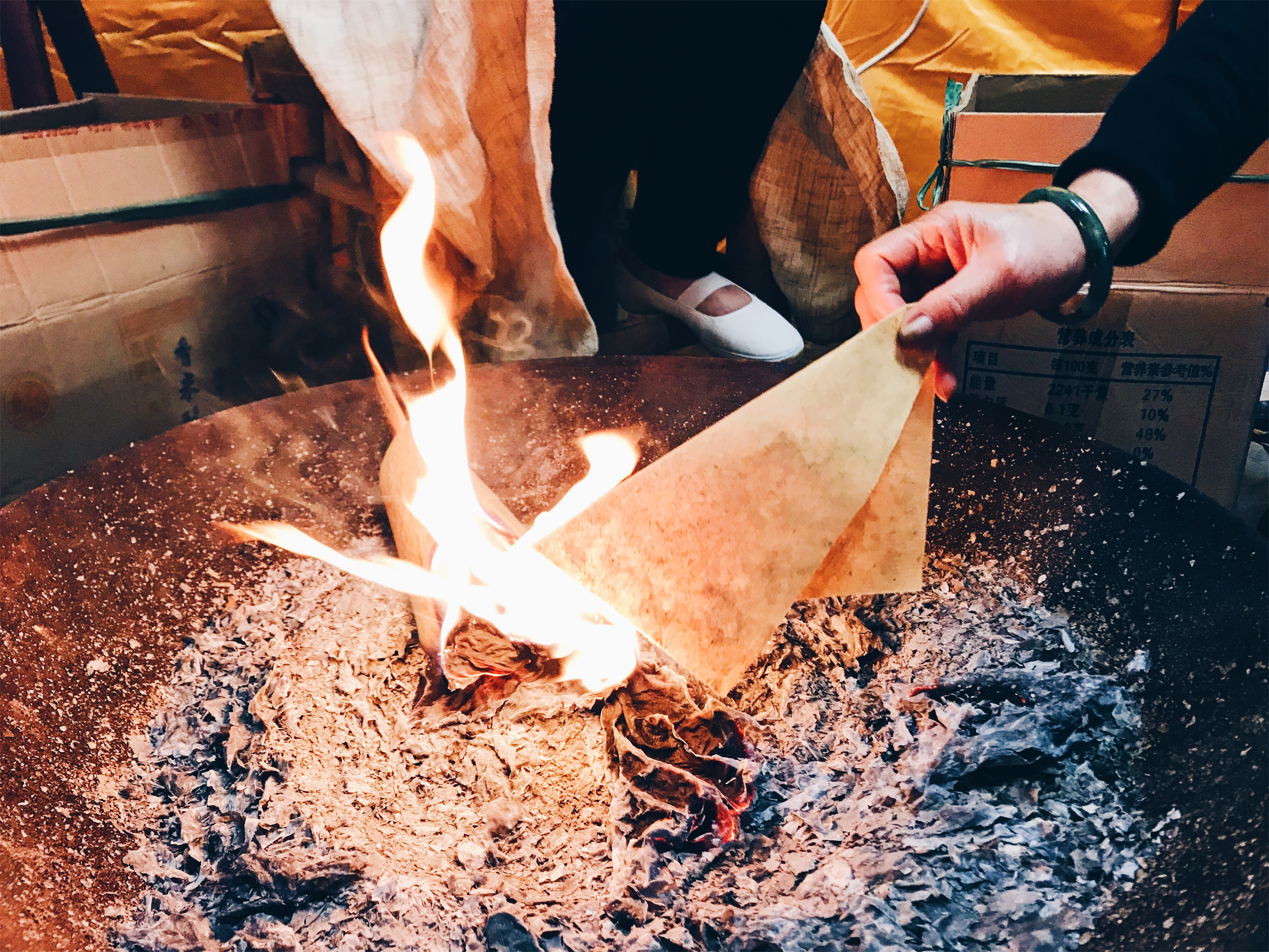 Chinese funeral - burning paper for afterlife money