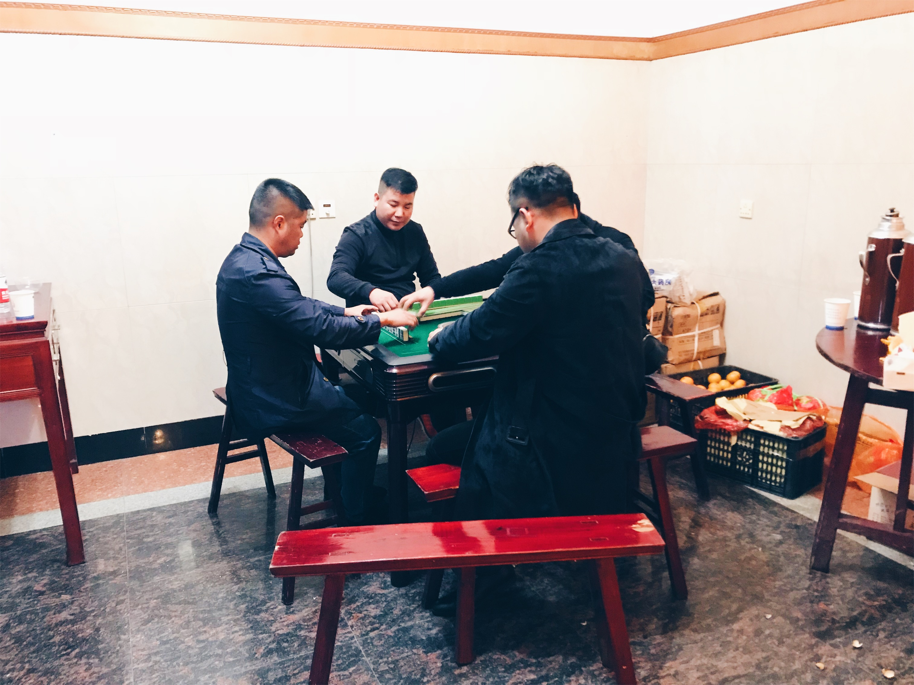 Chinese funeral - playing mah yong during the wake